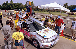 Stock photo of a car depicting George Bush riding a missile