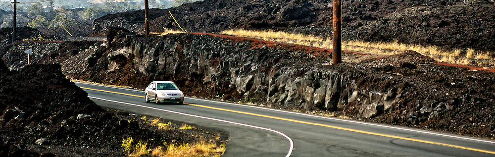 Many of Kona's roads are lined with lava rock.