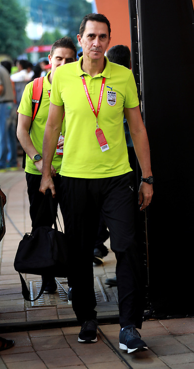 Alexandre Borges Guimaraes head coch of Mumbai City FC arrives for the match 7 of the Indian Super League (ISL) season 3 between Mumbai City FC and NorthEast United FC held at the Mumbai Football Arena in Mumbai, India on the 7th October 2016.<br /> <br /> Photo by Sandeep Shetty / ISL/ SPORTZPICS
