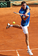 06.APRIL.2012. MONACO<br /> <br /> MONACO (MCO)-GILLES SIMON PLAYING TENNIS DAVIS CUP QUARTERFINALS IN MONTE-CARLO AGAINST JOHN ISNER FROM UNITED STATES. HE LOST THIS MATCH IN THREE SETS. <br /> <br /> BYLINE: EDBIMAGEARCHIVE.COM<br /> <br /> *THIS IMAGE IS STRICTLY FOR UK NEWSPAPERS AND MAGAZINES ONLY*<br /> *FOR WORLD WIDE SALES AND WEB USE PLEASE CONTACT EDBIMAGEARCHIVE - 0208 954 5968*