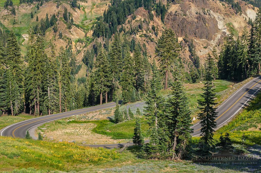 Highway 89 through Lassen Volcanic National Park, California