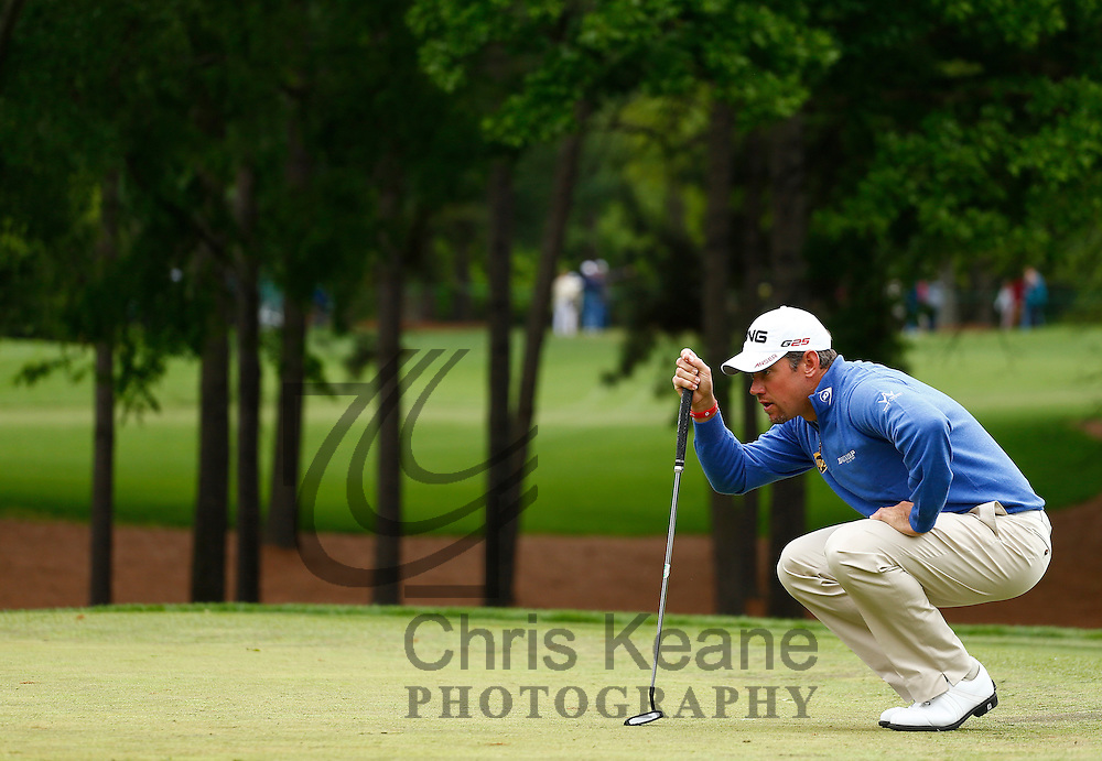 Lee Westwood of England lines up his putt on the third hole during the third round of the Wells Fargo Championship at the Quail Hollow Club in Charlotte, North Carolina on May 4, 2013.  (Photo by Chris Keane - www.chriskeane.com)