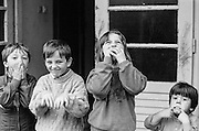 "Child refugees from Bosnia in the Varazdin refugee camp in Croatia in the winter of 1992. The boy on the left is (probably named) ""Elvis""."