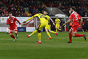 Mohamed Eisa scores to put CTFC 0-3 up during the EFL Sky Bet League 2 match between Crawley Town and Cheltenham Town at the Checkatrade.com Stadium, Crawley, England on 24 March 2018. Picture by Antony Thompson.