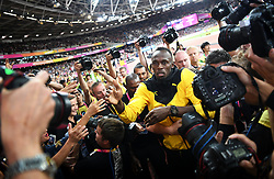 August 13, 2017 - London, Great Britain - Jamaican sprinter Usain Bolt says farewell after the IAAF World Championships, London, UK 2017-08-13..Friidrotts-VM i London 2017..(c) WIXTRÖM JIMMY  / Aftonbladet / IBL BildbyrÃ¥....* * * EXPRESSEN OUT * * *....AFTONBLADET / 85325 (Credit Image: © WixtrÖM Jimmy/Aftonbladet/IBL via ZUMA Wire)