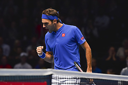 November 15, 2018 - London, England, United Kingdom - Roger Federer of Switzerland reacts during his round robin match against Kevin Anderson of South Africa during Day Five of the Nitto ATP Finals at The O2 Arena on November 15, 2018 in London, England. (Credit Image: © Alberto Pezzali/NurPhoto via ZUMA Press)