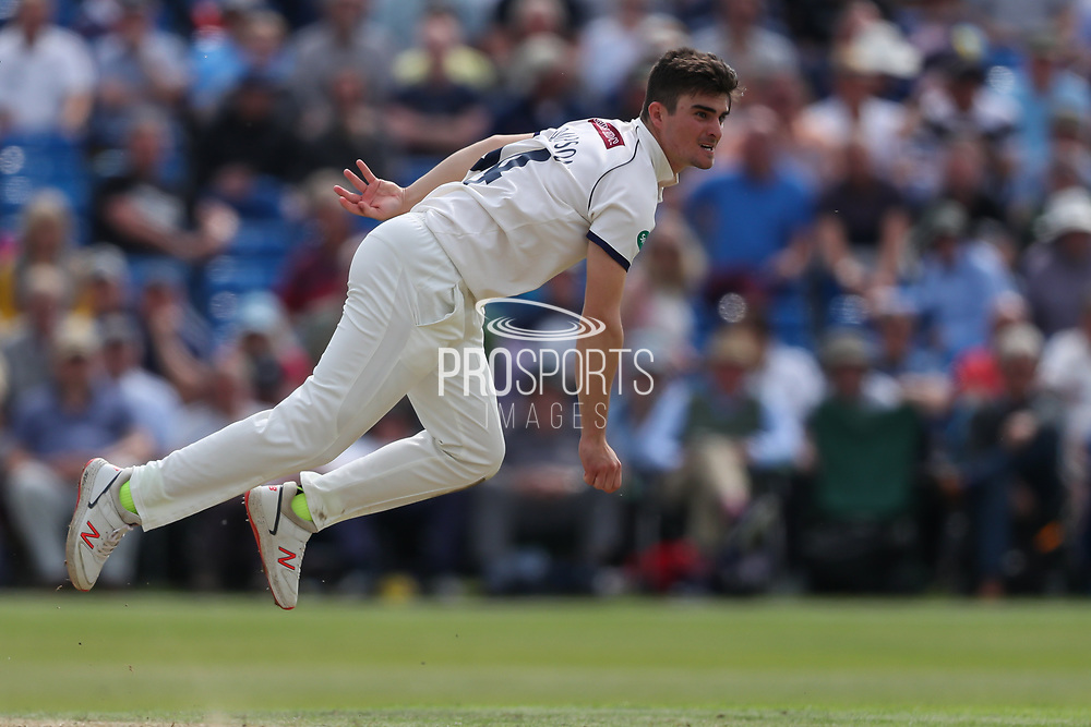 Jordan Thompson of Yorkshire bowling during the Specsavers County Champ Div 1 match between Yorkshire County Cricket Club and Warwickshire County Cricket Club at York Cricket Club, York, United Kingdom on 18 June 2019.