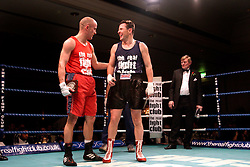 UK ENGLAND LONDON 2DEC04 - Boxers Stuart Leigh (Blue) and Ben Burville share a moment in the ring after their fight at the 4th Real Fight Club City Broker Christmas Bash at the London Mariott Hotel, Mayfair. The high-adrenaline contact sport of White Collar Boxing originated in New York 17 years ago and attracts mostly young males from the financial, legal and medical professions.....jre/Photo by Jiri Rezac ....© Jiri Rezac 2004....Contact: +44 (0) 7050 110 417..Mobile:  +44 (0) 7801 337 683..Office:  +44 (0) 20 8968 9635....Email:   jiri@jirirezac.com..Web:    www.jirirezac.com....© All images Jiri Rezac 2004 - All rights reserved.