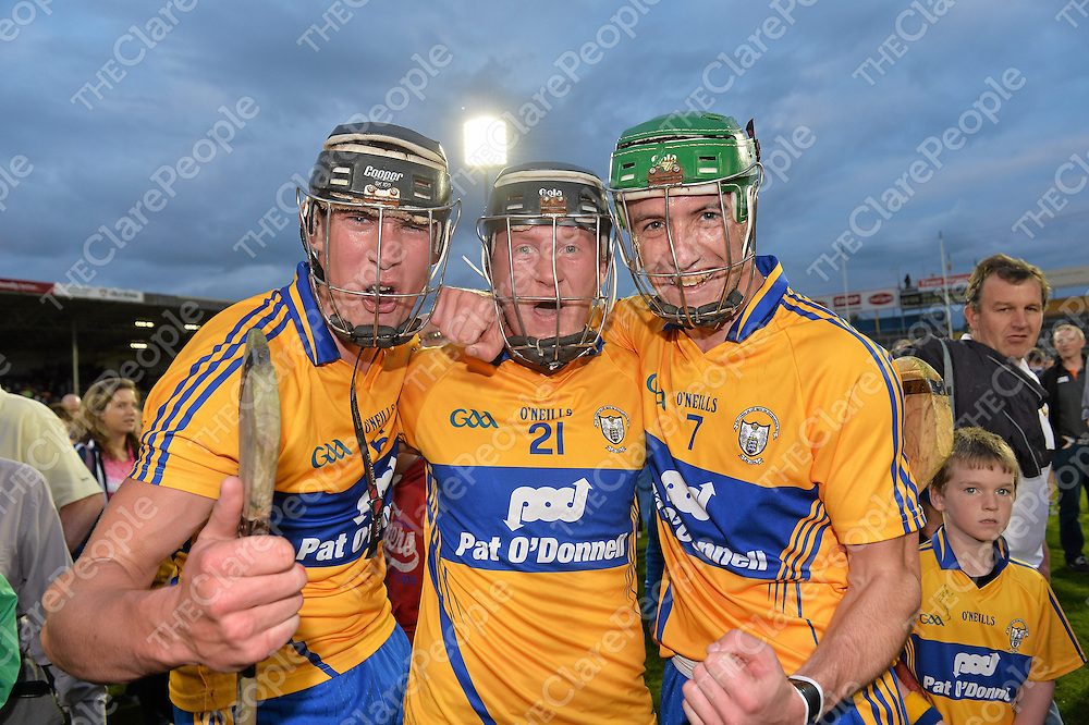 7 August 2013; Clare players, from left, Alan O'Neill, Jamie Shanahan and Stephen O'Halloran, Clare, celebrate after the game. Bord Gáis Energy Munster GAA Hurling Under 21 Championship Final, Tipperary v Clare, Semple Stadium, Thurles, Co. Tipperary. Picture credit: Matt Browne / SPORTSFILE *** NO REPRODUCTION FEE ***