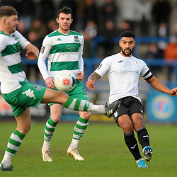 TELFORD COPYRIGHT MIKE SHERIDAN Ellis Deeney of Telford during the Vanarama Conference North fixture between Darlington and Farsley Celtic at Tge New Bucks head Stadium on Saturday, December 7, 2019.<br /> <br /> Picture credit: Mike Sheridan/Ultrapress<br /> <br /> MS201920-033