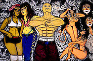 A painting by a member of 18th Street hangs in Mara's house in San Salvador on 5/19/07.   Themes of clowns, muscled men, naked women,  and skulls abound in the tattoos that adorns many Mara's bodies.  These tattoos fundamentally separate gang members from society  for the entire lives.  Because the gang culture is so youth dominated the repercussions of the tattoos do not outweigh the gains in solidarity and commitment.