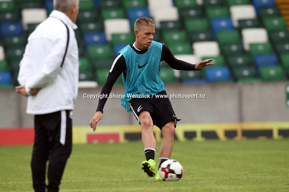 Monty Patterson. All Whites training, Windsor Park, Belfast, Northern Ireland, Monday 29th May 2017. Photo: Shane Wenzlick / www.photosport.nz