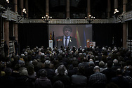 Catalonia's deposed president Carles Puigdemont address his audience via a live video feed from Brussels at an electoral rally ahead of the forthcoming Catalan parliamentary election on December 16, 2017 in Barcelona, Spain. Carles Puigdemont fled Spain in October after Catalonia's declaration of independence to avoid arrest by Spanish justice and took refuge in Belgium from where he campaigned for the Parliament election.
