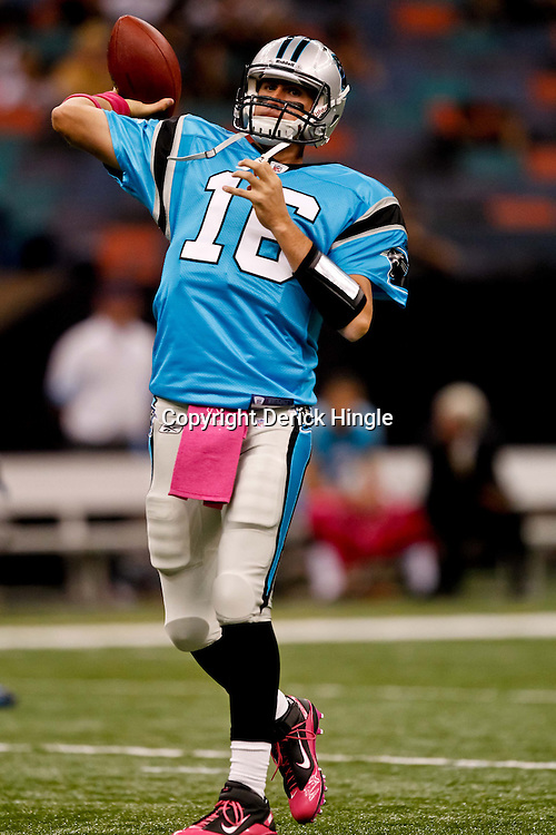 October 3, 2010; New Orleans, LA, USA; Carolina Panthers quarterback Tony Pike (16) during warm ups prior to kickoff of a game between the New Orleans Saints and the Carolina Panthers at the Louisiana Superdome. Mandatory Credit: Derick E. Hingle
