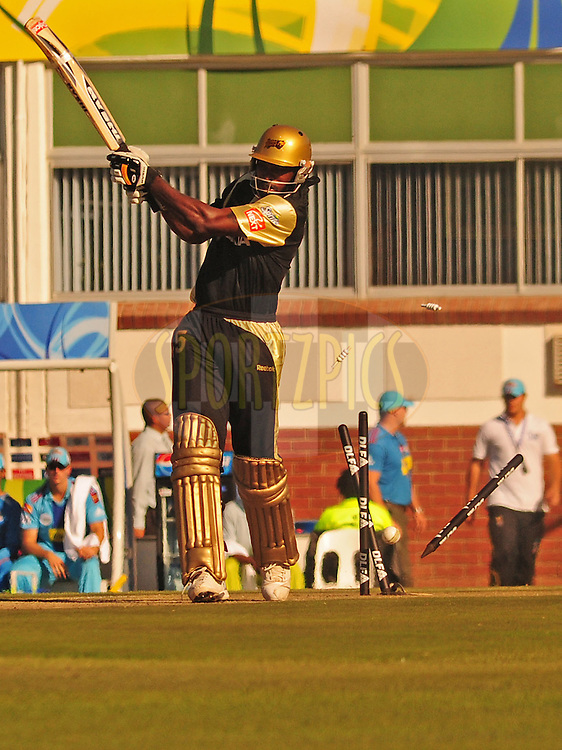 EAST LONDON, SOUTH AFRICA - 1 May 2009.  Chris gayle bowled 1st ball during the  IPL Season 2 match between the Mumbai Indians and the Kolkata Knight Riders held at Buffalo Park in East London. South Africa...