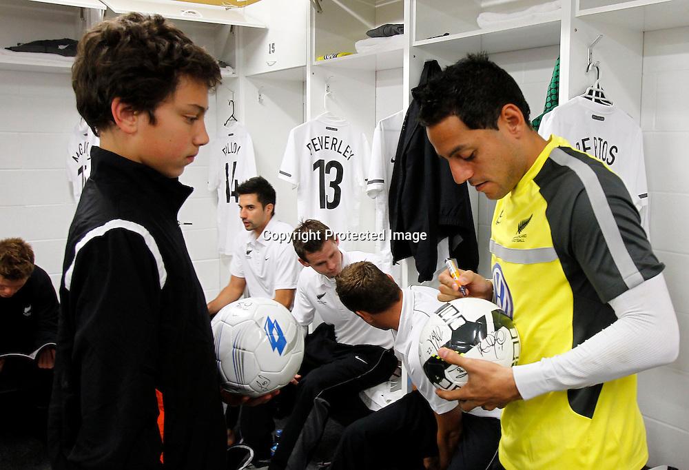 Leo Bertos signs autographs pre match.ASB International Series, All Whites v Honduras, North Harbour Stadium Albany, Saturday 9th October 2010. Photo: Shane Wenzlick