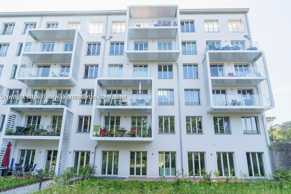 Renovated modern apartments at former Nazi era buildings at former resort Prora on Rugen Island in Mecklenburg Vorpommern Germany