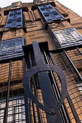 Detail of art nouveau iron railings at famous Glasgow School of Art in Glasgow Scotland