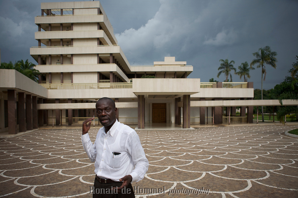 The nephew of former president and father of the nation, Fe?lix Houphoue?t-Boigny on the backside of the presidential palace of the deceased leader in Yamoussoukro, the capital of Cote d'Ivoire. The quiet town was made capital twenty years ago by it's president. In 2010 all the economical and political power remains in Abidjan.