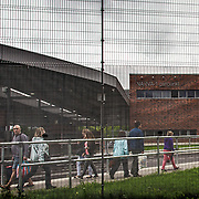 People crossing the border in Narva between Estonia and Russia