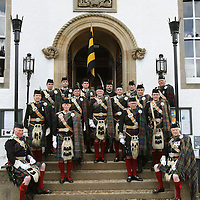 Atholl Highlanders Parade, Blair Castle, Perthshire..26.05.07<br /> John Murray 11th Duke of Atholl pictured centre with his officers<br /> Picture by Graeme Hart.<br /> Copyright Perthshire Picture Agency<br /> Tel: 01738 623350  Mobile: 07990 594431