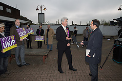 © Licensed to London News Pictures . 03/11/2015 . Oldham , UK . UKIP candidate JOHN BICKLEY being interviewed for TV at the launch of the party's campaign for the seat of Oldham West and Royton , in Royton Shopping Centre . The by-election has been triggered by the death of MP Michael Meacher . Photo credit : Joel Goodman/LNP