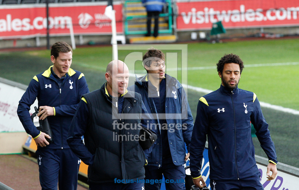 Tottenham Hotspur players arrive for the Barclays Premier League match at the Liberty Stadium, Swansea<br /> Picture by Mike Griffiths/Focus Images Ltd +44 7766 223933<br /> 14/12/2014