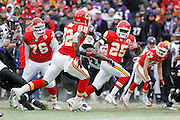 Jamaal Charles (25) of the Kansas City Chiefs breaks away for a 41-yard touchdown in the first quarter against the Baltimore Ravens during the AFC Wild Card Playoff game at Arrowhead Stadium on Jan. 9, 2011 in Kansas City, MO.