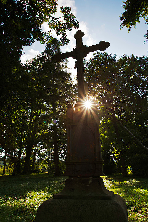 "Greek Orthodox cross on the old cemetery of Beniowa village, which was subject to ""ethnical cleansing"" by Russians in 1946. Beniowa, Ukrainian border, Poland."