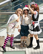"""Amateur cosplayers show off their homemade outfits around the """"home of cosplay"""" Oasis 21, Nagoya."""