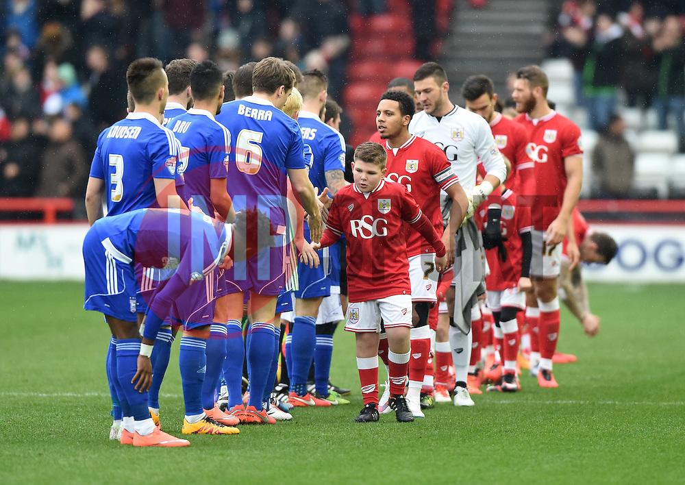 Mascot shakes hands  - Mandatory byline: Joe Meredith/JMP - 13/02/2016 - FOOTBALL - Ashton Gate - Bristol, England - Bristol City v Ipswich Town - Sky Bet Championship