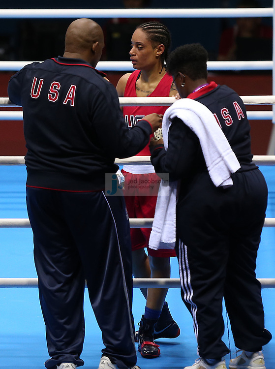 Quanitta Underwood of the USA looks after loosing to Natasha Jonas of Great Britain during women's boxing at the Excel center during day 9 of the London Olympic Games in London, England, United Kingdom on August 3, 2012..(Jed Jacobsohn/for The New York Times)..