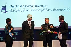 Maja Makovec Brencic, Jozko Krizan of OKS Olimp, Ivo Tomc of SLOKA 2010 and Sasa Jerkovic during Sporto  2010 Gala Dinner and Awards ceremony at Sports marketing and sponsorship conference, on November 29, 2010 in Hotel Slovenija, Portoroz/Portorose, Slovenia. (Photo By Vid Ponikvar / Sportida.com)