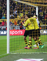 01.03.2014, Signal Iduna Park, Dortmund, GER, 1. FBL, Borussia Dortmund vs 1. FC Nuernberg, 23. Runde, im Bild Mats Hummels (Borussia Dortmund #15) beim Torjubel nach dem Treffer zum 1:0 mit Pierre-Emerick Aubameyang (Borussia Dortmund #17), Robert Lewandowski (Borussia Dortmund #9), Emotion, Freude, Glueck, Positiv // during the German Bundesliga 23th round match between Borussia Dortmund and 1. FC Nuernberg at the Signal Iduna Park in Dortmund, Germany on 2014/03/01. EXPA Pictures © 2014, PhotoCredit: EXPA/ Eibner-Pressefoto/ Schueler<br /> <br /> *****ATTENTION - OUT of GER*****