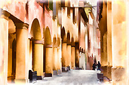 Water color sketch of a Bologna Street with colonnades and warm toned yellow and orange houses