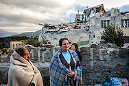 24 August 2016, Amatrice Italy - <br /> Women in the street after a 6.3 earthquake hit the town of Amatrice in Lazio region killing more than 240 people. Many other towns of the italian central regions have been hit by the quake.