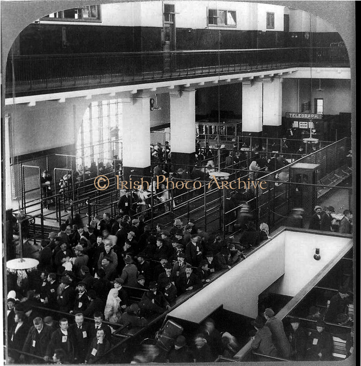 European immigrants on Ellis Island. Immigrants arriving in the United States through Ellis Island, New York. Unknown