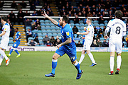 Goalscorer Peterborough Utd's Lee Tomlin (29) wheels away after putting Posh 1-0 in front during the EFL Sky Bet League 1 match between Peterborough United and Rochdale at London Road, Peterborough, England on 12 January 2019.