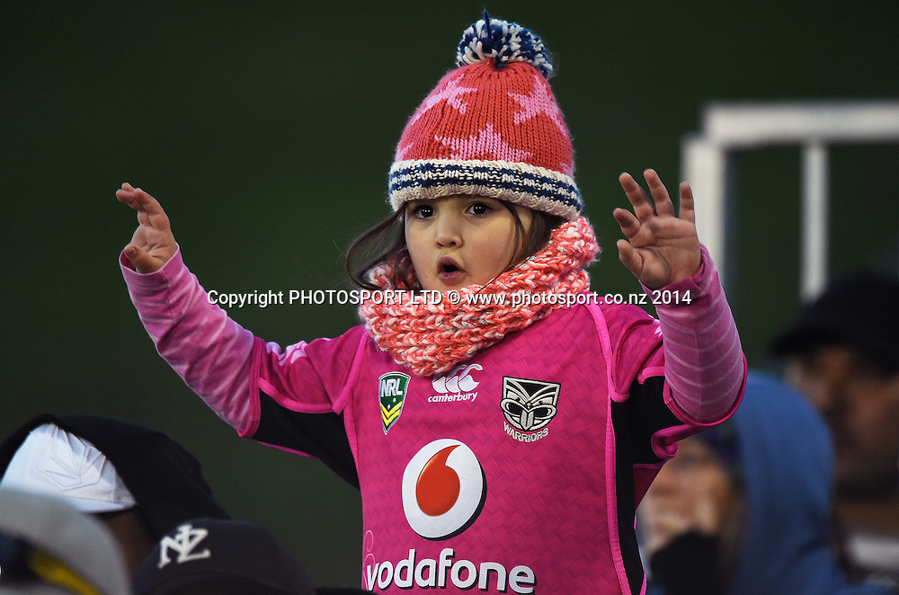 A young fan. Vodafone Warriors v Penrith Panthers. NRL Rugby League. Mt Smart Stadium, Auckland, New Zealand. Sunday 29 June 2014. Photo: Andrew Cornaga/www.Photosport.co.nz