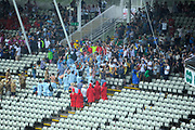 Fans singing in the rain in the Hollies stand at the end of play during the International Test Match 2019 match between England and Australia at Edgbaston, Birmingham, United Kingdom on 3 August 2019.