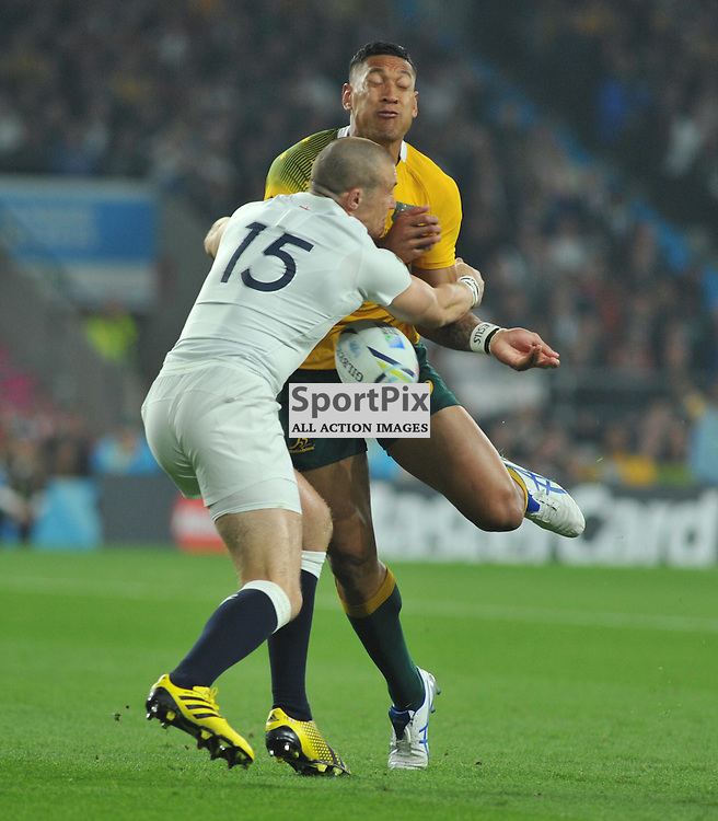 Israel Folau of Australia is tackled by Mike Brown of England during the IRB RWC 2015 Pool A match between England and Australia at Twickenham Stadium on Saturday 3 October 2015, London, England. (c) Ian Nancollas | SportPix.org.uk
