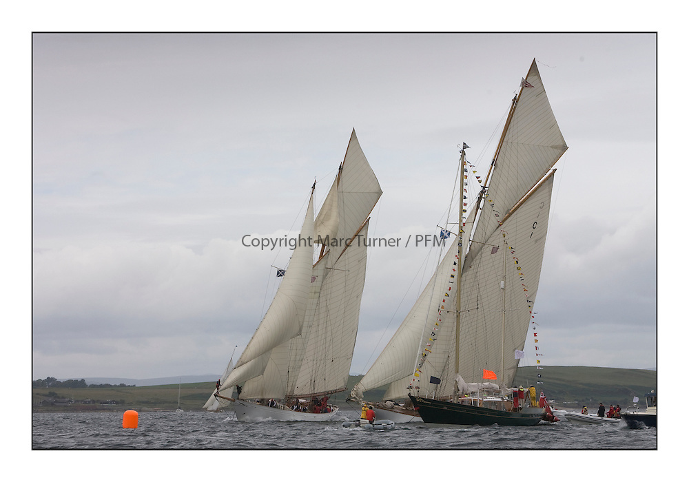 Altair 1931 Schooner and Mariquita 1911 a 19 metre  at the finish line with Glenafton...The final day's racing on the King's Course North of Cumbrae...* The Fife Yachts are one of the world's most prestigious group of Classic .yachts and this will be the third private regatta following the success of the 98, .and 03 events.  .A pilgrimage to their birthplace of these historic yachts, the 'Stradivarius' of .sail, from Scotland's pre-eminent yacht designer and builder, William Fife III, .on the Clyde 20th -27th June.   . ..More information is available on the website: www.fiferegatta.com . .Press office contact: 01475 689100         Lynda Melvin or Paul Jeffes