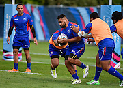Samoa players during the Samoa team training session in preparation for the Rugby World Cup at the University of Brighton, Brighton and Hove, England on 18 September 2015. Photo by David Charbit.