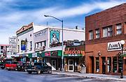 Shops along 2nd street, Fairnanks, Alaska, USA