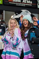 KELOWNA, CANADA - DECEMBER 2: Fans ham it up on December 2, 2015 at Prospera Place in Kelowna, British Columbia, Canada.  (Photo by Marissa Baecker/Shoot the Breeze)  *** Local Caption *** Fans;