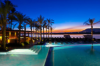 Twilight view of the Hilton Luxor Resort & Spa on the Nile River in Luxor, Egypt