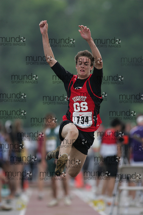 (London, Ontario}---03 June 2010) Blake McPherson of Governor Simcoe-St. Catherines competing in the junior boys long jump at the 2010 OFSAA Ontario High School Track and Field Championships. Photograph copyright Sean Burges / Mundo Sport Images, 2010.