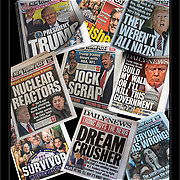 Trump Newspaper Headlines and Gun Violence Headlines and Signs
