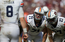 Auburn offensive lineman Braden Smith (71) listens for the play in a huddle during the fourth quarter of an NCAA college football game against Texas A&M on Saturday, Nov. 4, 2017, in College Station, Texas. (AP Photo/Sam Craft)