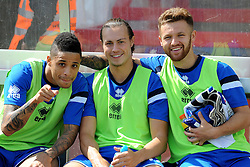 Daniel Leadbitter of Bristol Rovers, Billy Bodin of Bristol Rovers, Matty Taylor of Bristol Rovers - Mandatory by-line: Neil Brookman/JMP - 25/07/2015 - SPORT - FOOTBALL - Cheltenham Town,England - Whaddon Road - Cheltenham Town v Bristol Rovers - Pre-Season Friendly